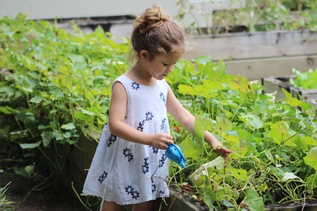 Fillette portant une tunique pour fille en train d'arroser des plantes