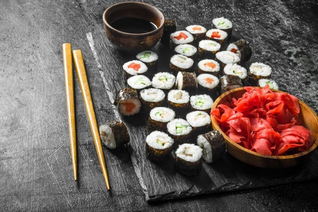 Gingembre accompagnant des makis